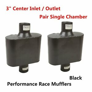 2x 3 Center Pair Of Single Chamber Performance Race Universal Exhaust Muffler