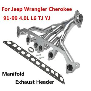 Stainless Exhaust Manifold Header For 91 99 Jeep Wrangler Cherokee 4 0l L6 Tj Yj