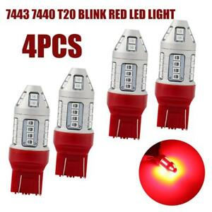 4x7443 7440 Red Led Strobe Flashing Blinking Brake Tail Parking Bulbs Safety T20