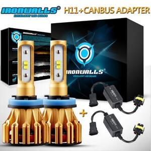 Cree H11 H9 H8 Led Headlight Kit Car Light Bulbs 6500k White With Canbus Adapter