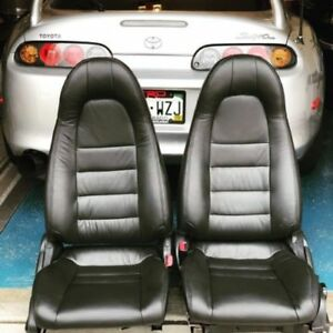 1997 1998 Toyota Supra Mk4 Mkiv Black Replacement Leather Seat Cover