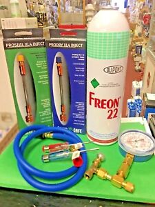 Refrigerant 22 Recharge Kit Large 35 Oz Can Taper Hose Gauge Screwdrivers