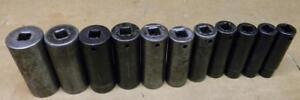 Snap on 1 2 Drive 11pc Sae 6pt Deep Impact Socket Set 1 2 1 1 8