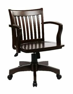 Office Star Deluxe Wood Bankers Desk Chair W Seat Pick Sz color