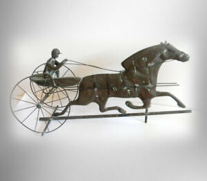 Weathervane With Sulky And Horse Vintage Folk Art Copper Patina