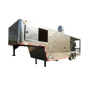 Concession Trailer 8 5 x29 Silver Gooseneck Catering Event Bbq Smoker