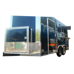 Concession Trailer 8 5 x14 Navy Blue Catering Event Vending Food