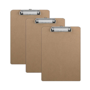 3 Clipboards Hardboard Flat Clip 9 X 12 5 Inches Units Other Office Supplies