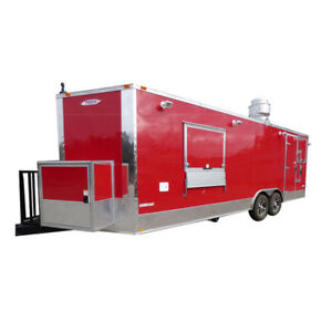 Concession Trailer 8 5 X 24 red Event Catering Bbq Smoker Enclosed