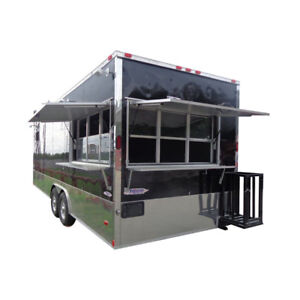 Concession Trailer Black 8 5 x24 Event Food Catering Enclosed Kitchen Restroom