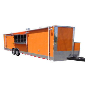 Concession Trailer 8 5 X 28 orange Event Catering Bbq Food Enclosed