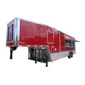 Concession Trailer 8 5 x33 Red Custom Event Enclosed Food Gooseneck