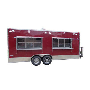 Concession Trailer 8 5 X 20 Red Custom Enclosed Event Food Kitchen