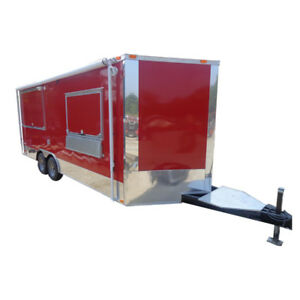 Concession Trailer 8 5 x20 Red Catering Bbq Food Enclosed Kitchen