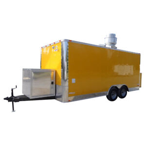 Concession Trailer 8 5 x18 Yellow Event Food Catering Enclosed Kitchen