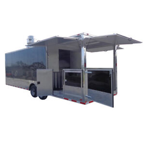 Concession Trailer 8 5 X 28 Black Bbq Smoker Food Catering Event Restroom