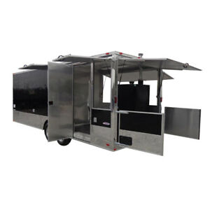 Concession Trailer 8 5 x24 Black Enclosed Kitchen Food Catering with Applian