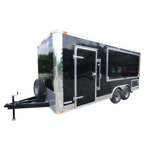 Concession Trailer 8 5 x18 Black Vending Pizza Food Kitchen