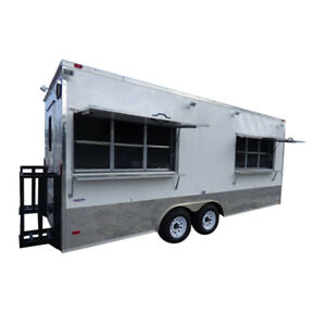 Concession Trailer 8 5 x20 White Event Food Catering Enclosed Kitchen
