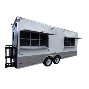 Concession Trailer 8 5 x20 White Enclosed Kitchen with Appliances
