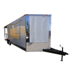 Bbq Concession Trailer 8 5 x24 White Smoker Event Enclosed Kitchen