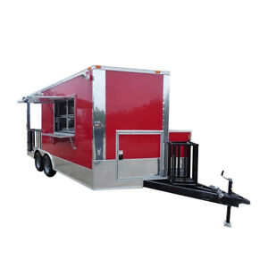Concession Trailer 8 5 X 16 Red Bbq Event Catering