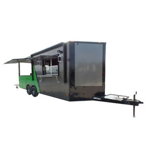 Concession Trailer 8 5 X 22 Charcoal Grey green Food Event Catering