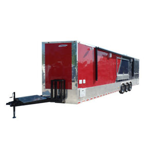 Concession Trailer 8 5 X 32 Red blue Bbq Food Event Catering