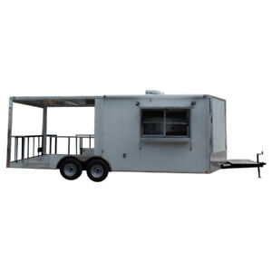 Concession Trailer 8 5 X 22 White Bbq Food Event Catering