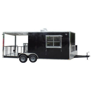 Concession Trailer 8 5 X 20 Black Bbq Food Event