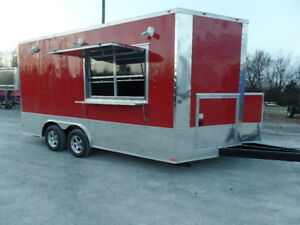 8 5x16 Red Food Catering Event Trailer