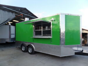 Concession 8 5x16 Lime Green Food Catering Trailer