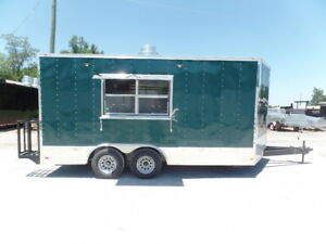 8 5x16 Emerald Green Food Event Concession Trailer
