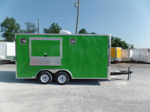 8 5x16 Lime Green Concession Food Trailer