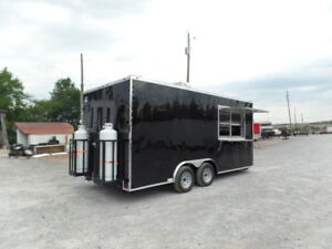 8 5 X 18 Black Food Catering Concession Trailer With Appliances