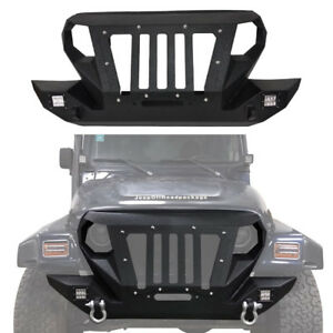 Off Road Front Bumper Grille W Winch Plate For 1997 2006 Jeep Wrangler Tj