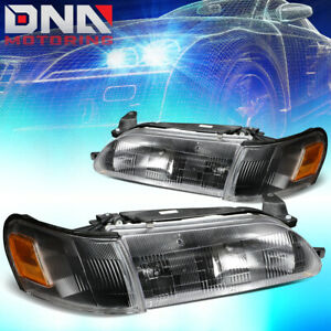 For 1993 1997 Toyota Corolla Black Housing Amber Side Driving Headlight Lamps