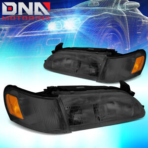 For 1993 1997 Toyota Corolla Smoked Housing Amber Corner Driving Headlight lamps