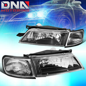 For 1997 1999 Nissan Maxima Black Housing Clear Corner Driving Headlight lamps