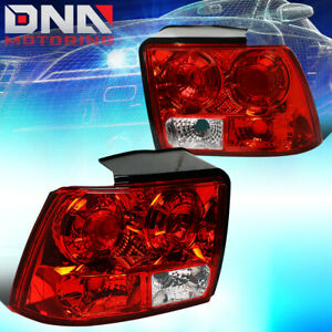 For 1999 2004 Ford Mustang Pair Red clear Lens Tail Light Brake reverse Lamps