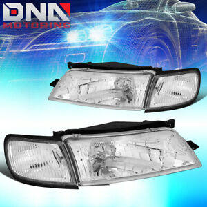 For 1997 1999 Nissan Maxima Chrome Housing Clear Corner Driving Headlight Lamps