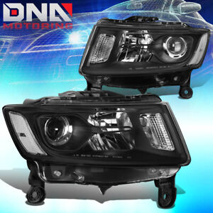 For 2014 2016 Jeep Grand Cherokee Wk2 Pair Projector Headlight lamps Black clear