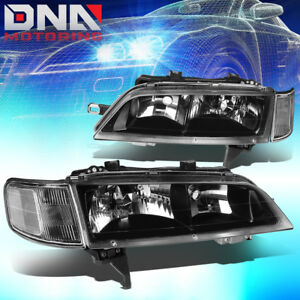 For 1994 1997 Honda Accord Pair Black Housing Clear Side Headlight Lamps L R