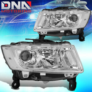 For 2014 2016 Jeep Grand Cherokee Wk2 Pair Projector Headlight lamp Chrome clear