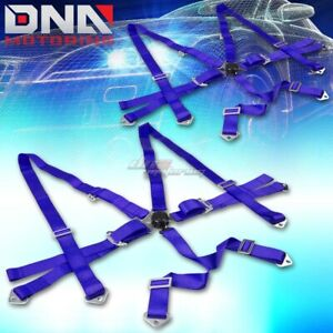 Pair Universal 6 point 3 Blue Nylon Strap Harness Safety Camlock Seat Belt