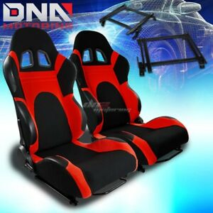 For 02 06 Acura Rsx Dc5 Bracket T 6 Black Red Woven Racing Seat Reclinable X2