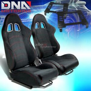 For 94 05 Dodge Neon Sx Bracket Type 1 Black Suede Racing Seat Reclinable X2