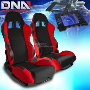 For 99 04 Mustang Sn 95 Bracket type 7 Black Red Woven Racing Seat Reclinable X2