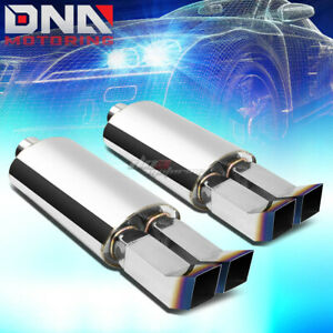 2x 3 inlet Dual Bent Square Burnt Tip Performance Stainless Oval Exhaust Muffler