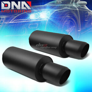 2x 3 inlet 4 5 black Domed Tip Performance Stainless Steel Round Exhaust Muffler